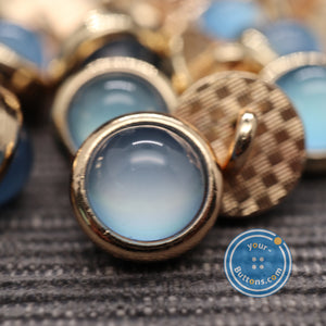 (3 pieces set)Blue pearl look metal shank button