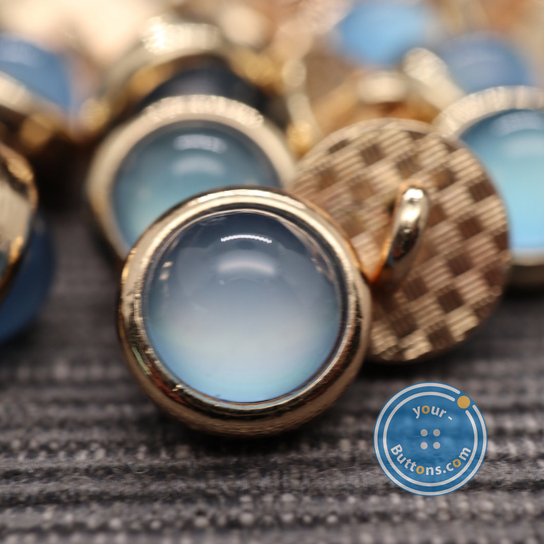 Blue pearl look metal shank button