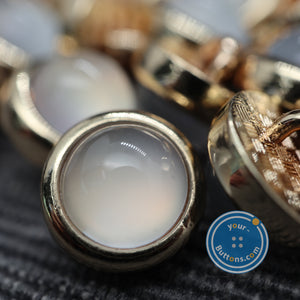 (3 pieces set) Pearl look metal shank button