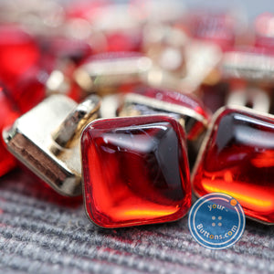 (3 pieces set) Red gem square metal shank button