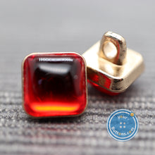 Load image into Gallery viewer, (3 pieces set) Red gem square metal shank button