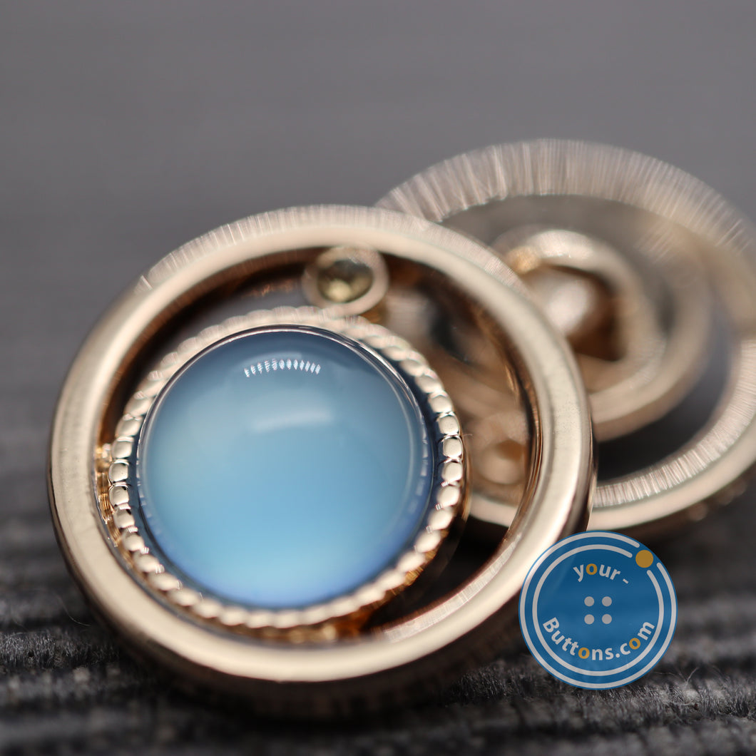 (3 pieces set) Comet style shank button blue