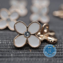 Load image into Gallery viewer, Cute Tiny 4-leaf white flower with gems shank button