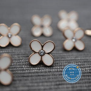 Cute Tiny 4-leaf white flower with gems shank button