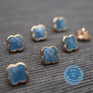 (3 pieces set)Tiny 4-leaf flower cloudy sky blue color shank button
