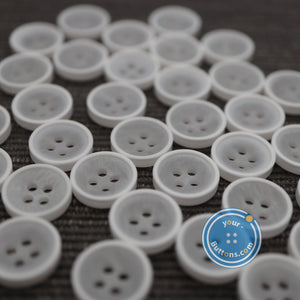 (4 pieces set) 4hole white eco poly button with cream rim