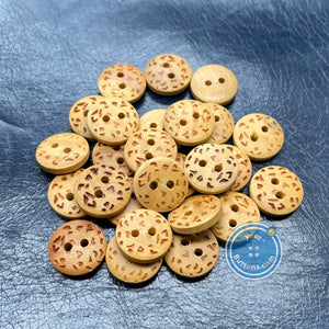 (3 pieces set) Burnt Dots on Wooden Button