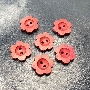 (2 pieces set) Wooden Flower shape button in Red