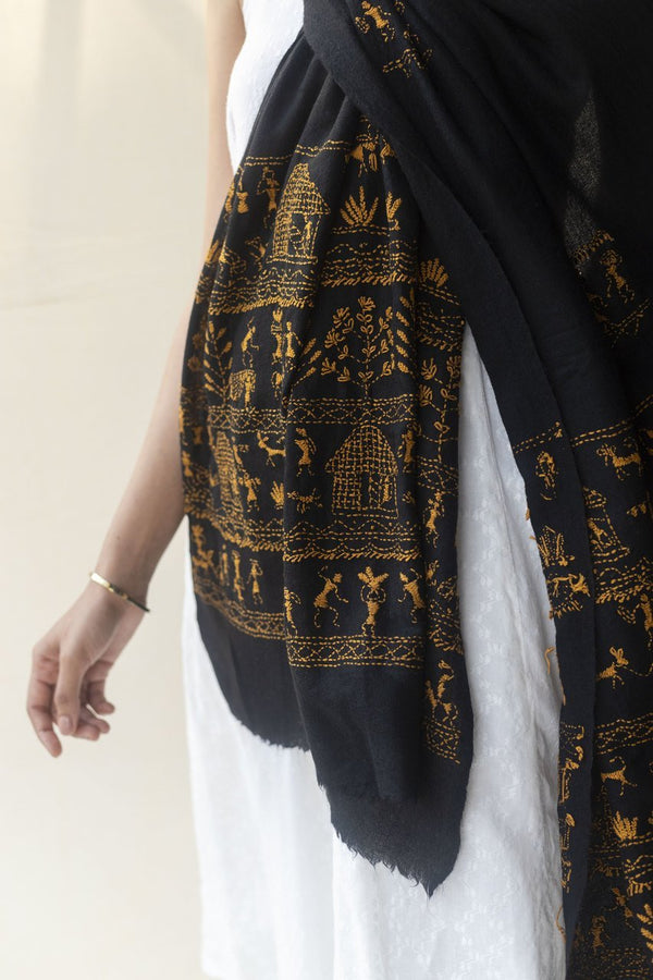 Meira Cashmere Kantha Embroidery Stole - Veaves