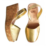 Gold Leather Cork Wedges
