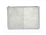 Silver Metallic Leather Palmaira Clutch