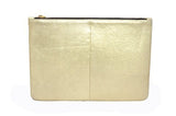Gold Leather Palmaira Clutch