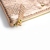 Rose Gold snakeprint mini clutch bag