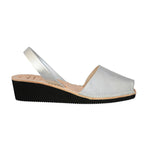 Silver Leather Low Black Wedge