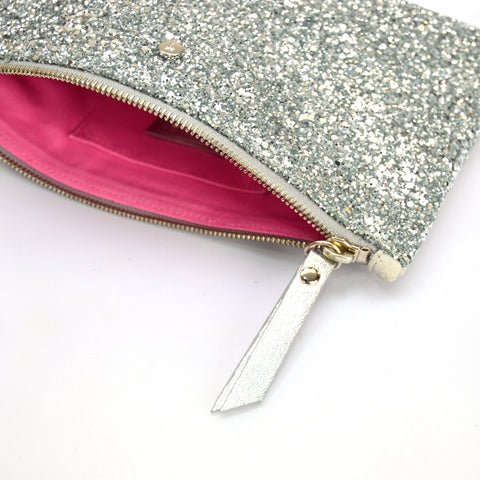 Silver Glitter mini clutch bag
