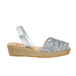 Silver Glitter Low Espadrille Wedge