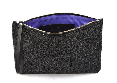 Black Glitter Maxi Clutch Bag