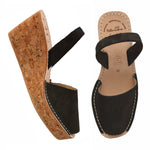 Graphite Suede Cork Wedge