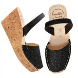 Black Glitter Cork Wedges