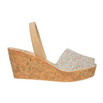 Sandy Glitter Cork Wedges