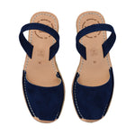 Navy Suede Low Espadrille Wedge