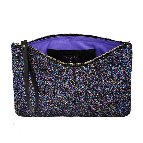 Dark Multi Glitter Maxi Clutch Bag