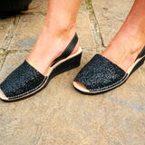 Black Glitter Low Wedges