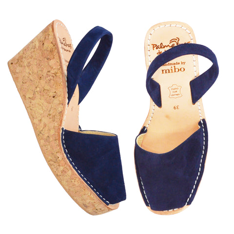 Navy Suede Cork Wedge