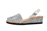 Silver Glitter Low Wedges