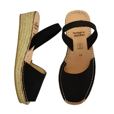 Black Nubuck Low Espadrille Wedge