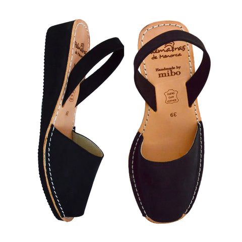 Black Nubuck Low Black Wedge