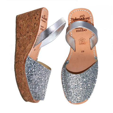 Silver Glitter Cork Wedges