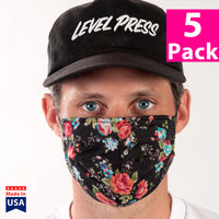 Daily Face Cover 5-Pack (Black Floral)