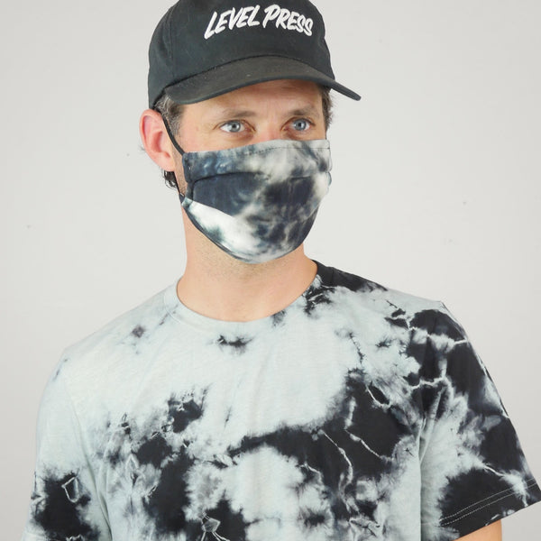 Black Tie Dye T-Shirt + Mask Pack - Black and off-white