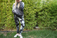 Off White and Black Tie Dye Hoodie - UNISEX
