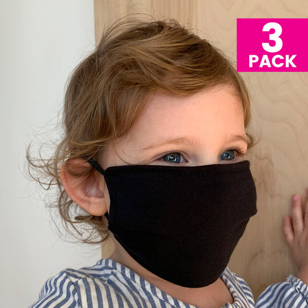 Daily Face Cover 3-Pack (CHILDREN'S BLACK)