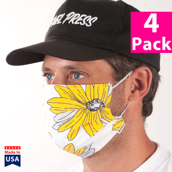 Daily Face Cover 4-Pack (Daisy Floral Print)