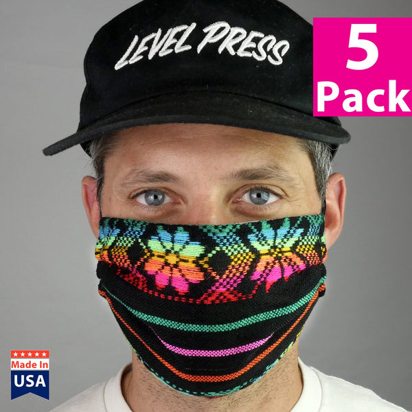 Daily Face Cover 5-Packs (Black Sarape Fabric)