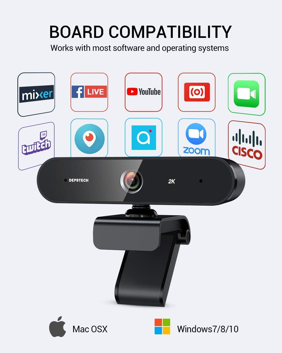 2K QHD Webcam with Dual Microphones for Zoom Conference