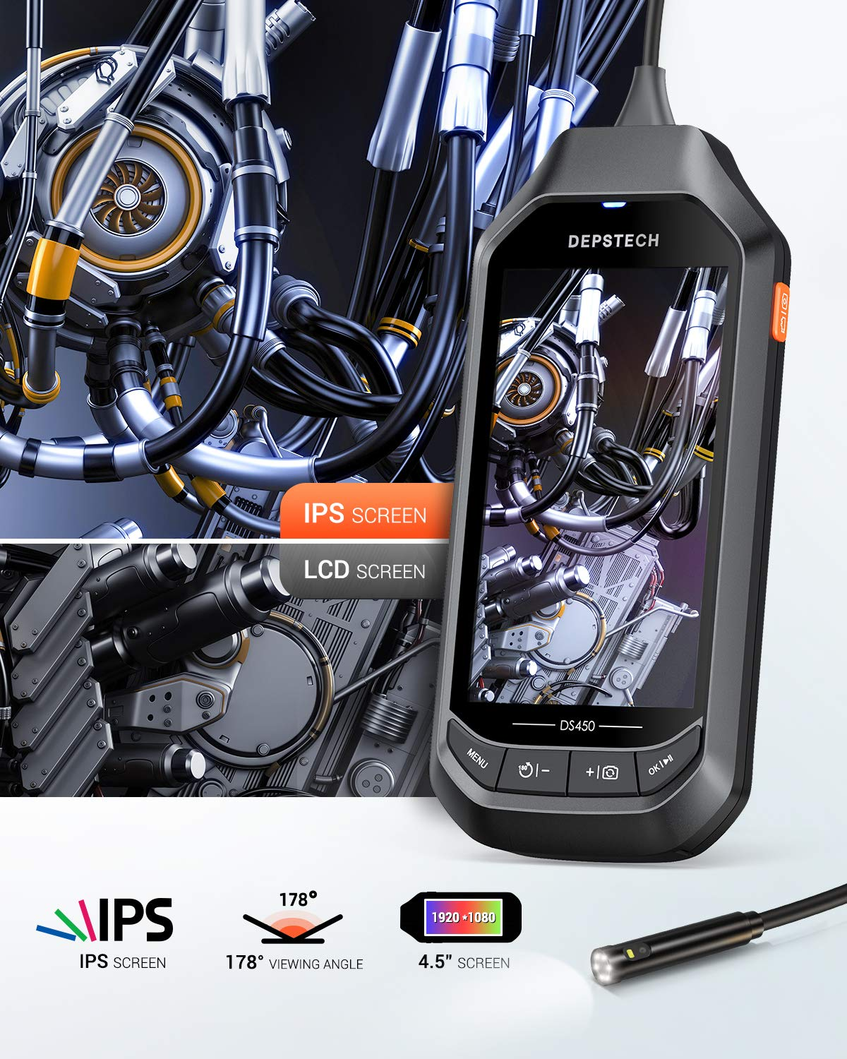 Dual-Lens Industrial Endoscope 1080P HD Camera with 4.5