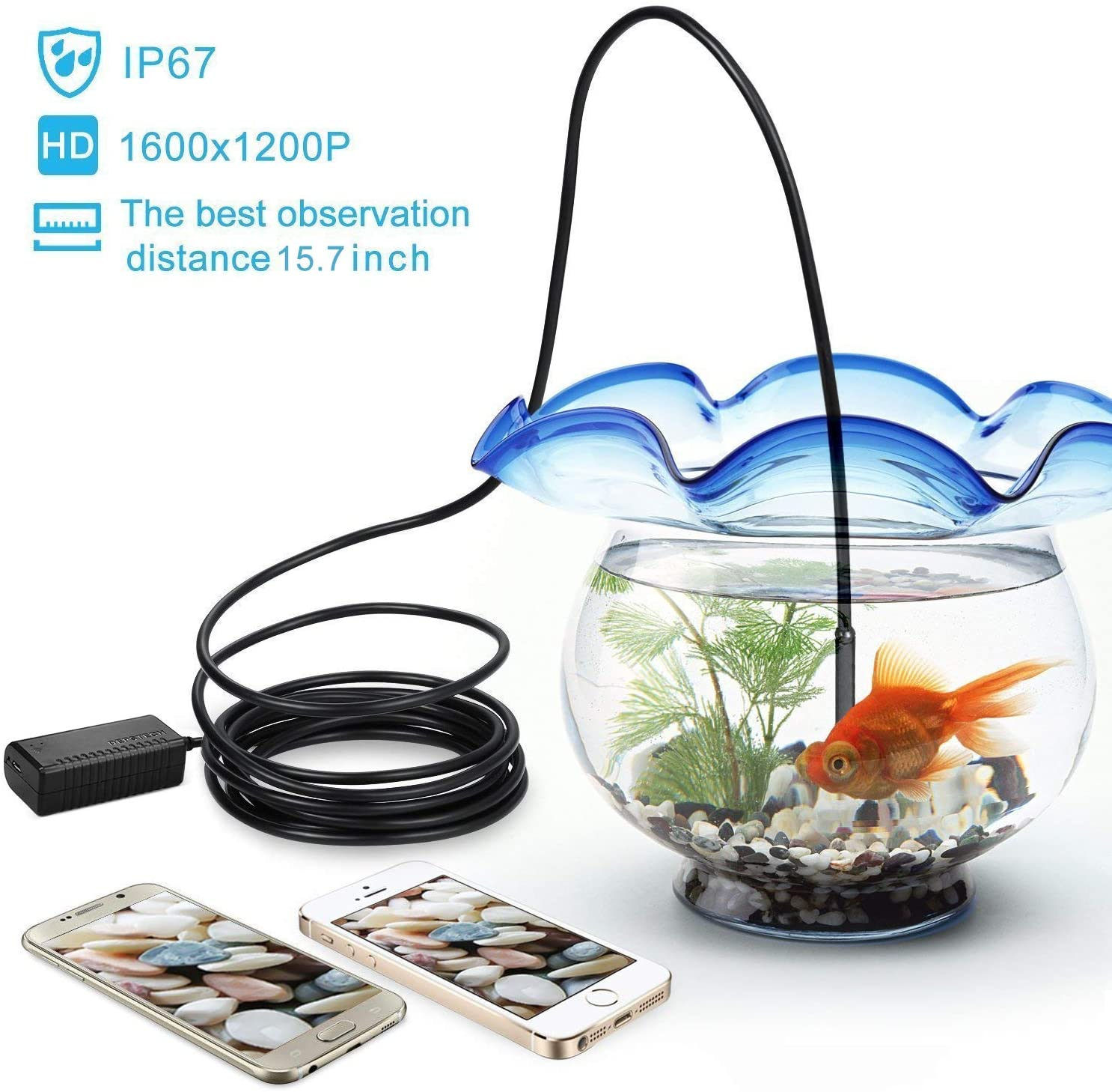2.0 Megapixels Wireless Endoscope, IP67 Waterproof 11.5ft