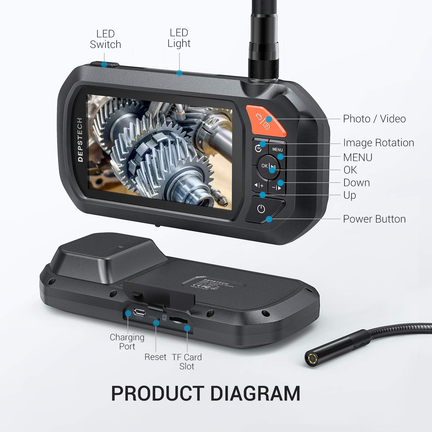 1080P Video Endoscope HD Inspection Camera with 4.3