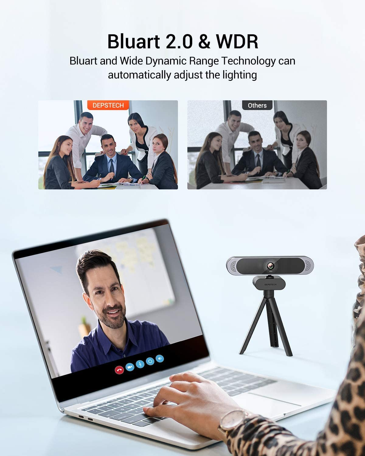 1080p HD Webcam with Microphone Privacy Cover and Tripod