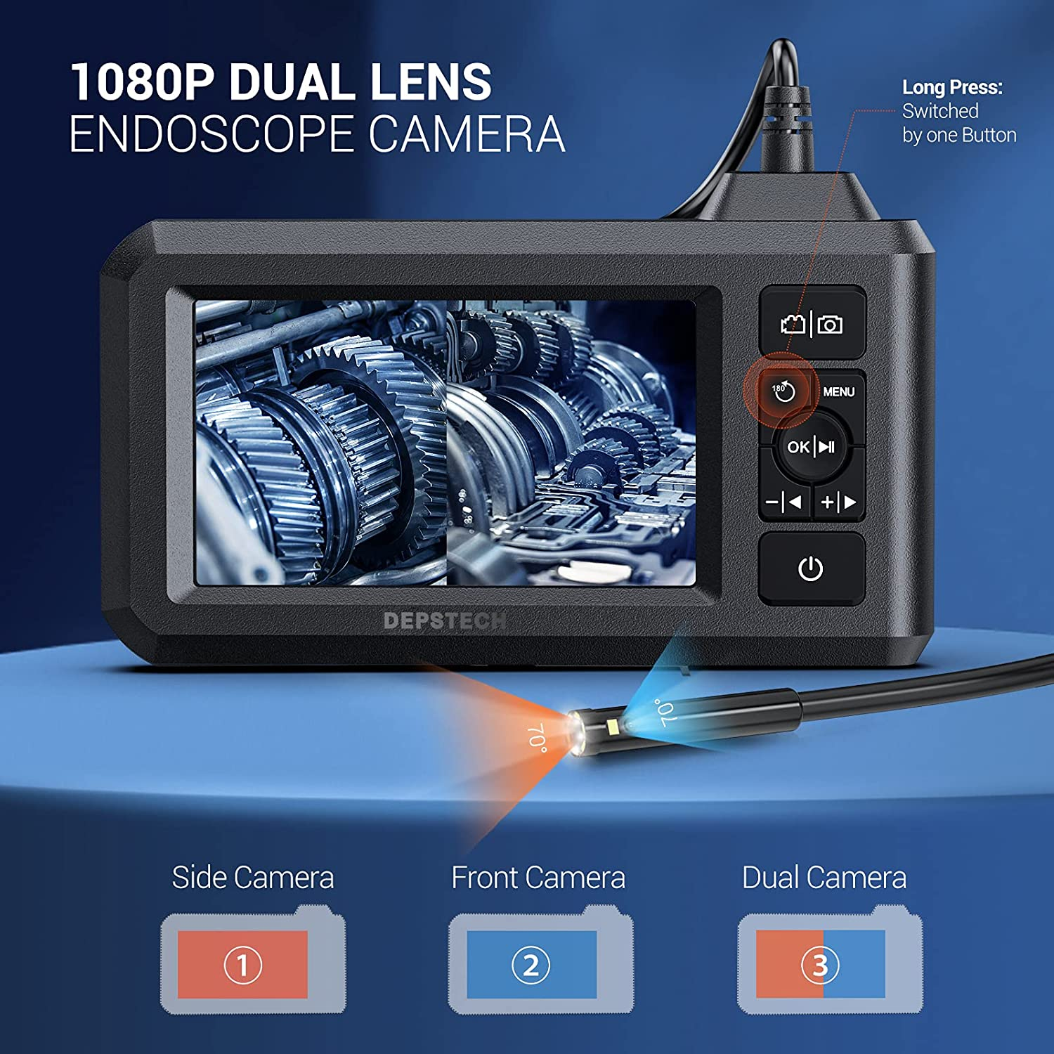 Dual Lens 1080P Industrial Endoscope 4.3