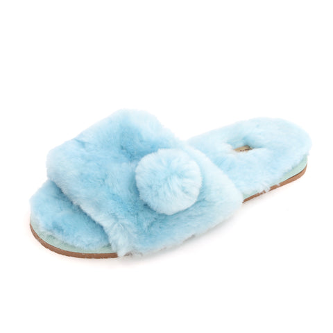 Sheep Touch Women's ACACIA Sheepskin Fluff Slippers Open Toe Blue