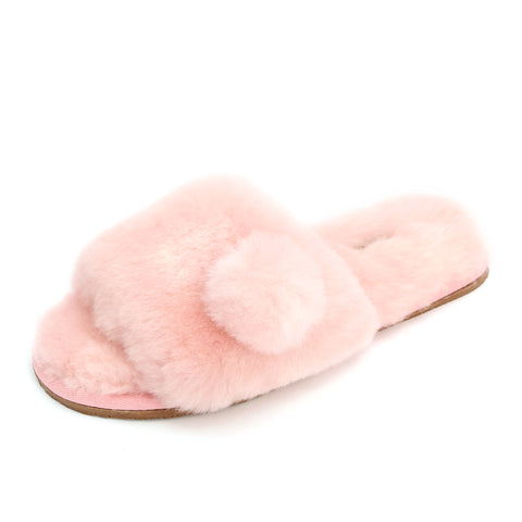 Sheep Touch Women's ACACIA Sheepskin Fluff Slippers Open Toe Pink