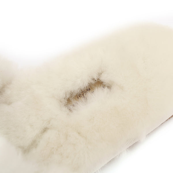 Sheep Touch Women's ACACIA Sheepskin Fluff Slippers Open Toe White