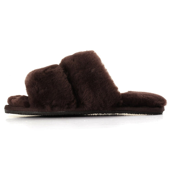 Sheep Touch Women's DAISY Sheepskin Fluff Slippers Open Toe Chocolate