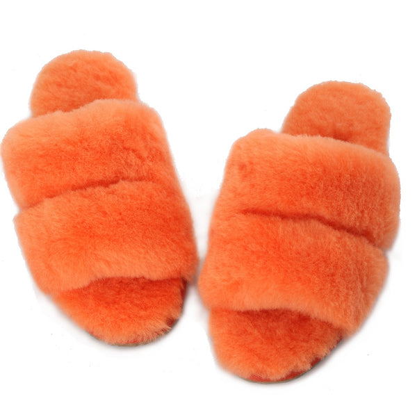 Sheep Touch Women's DAISY Sheepskin Fluff Slippers Open Toe Orange