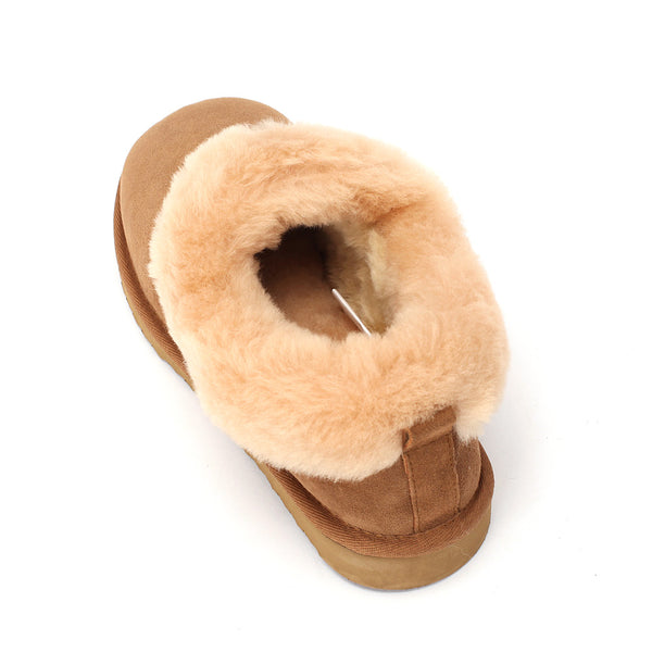 Sheep Touch Women's Balm Twin-Faced Sheepskin Closed-Back Slippers Chestnut